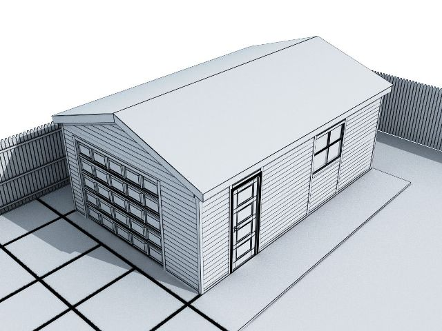 Металлический гараж с автоматическими воротами